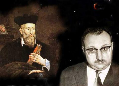 L'immagine è un collage che affianca Nostradamus a Manganelli