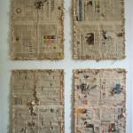Giuseppe Armenia, O sole mio (2013) - tecnica mista su fogli di giornale, 170x120 cm. (Federico Bianchi Gallery)
