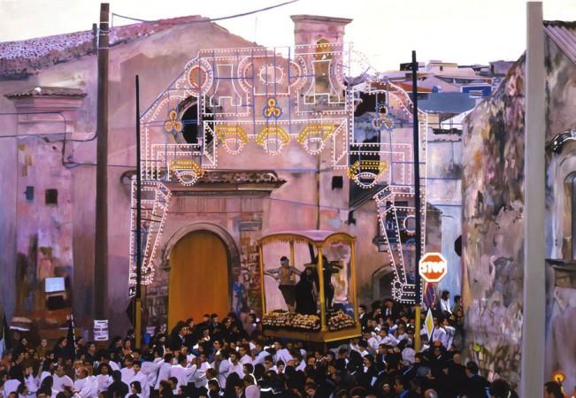 Francesco Lauretta, Tutto quello che puoi è niente, olio su tela, cm. 149x216, 2007