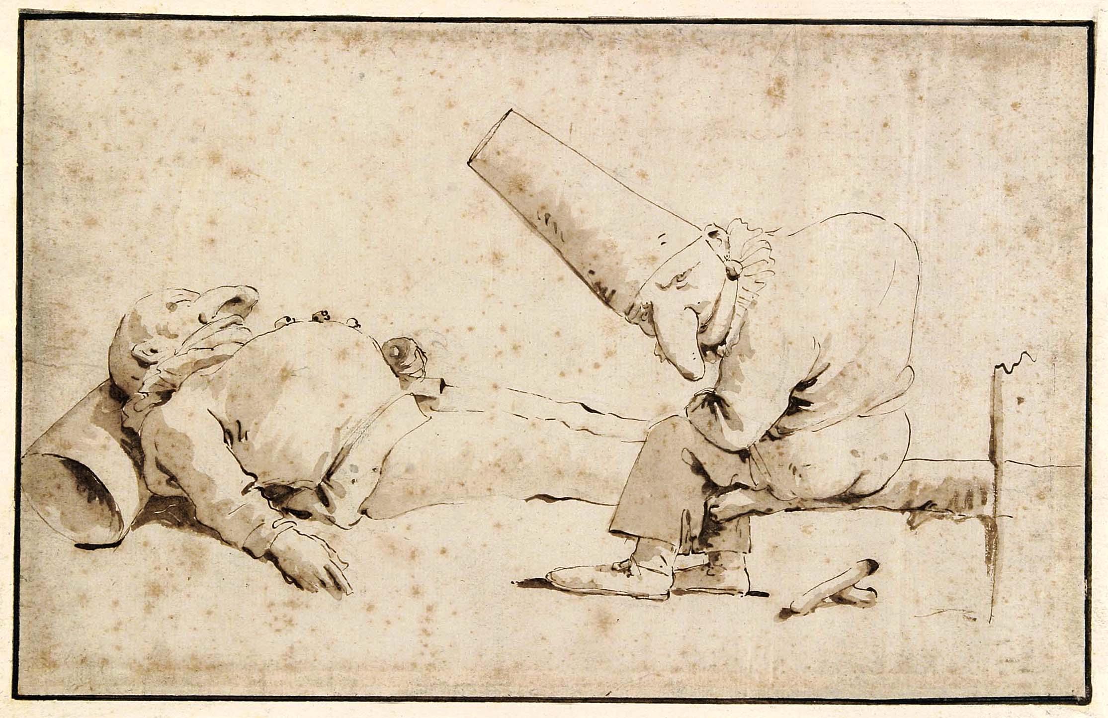 Giambattista Tiepolo, Due Pulcinella e i postumi della Festa degli Gnocchi, 1725-1750