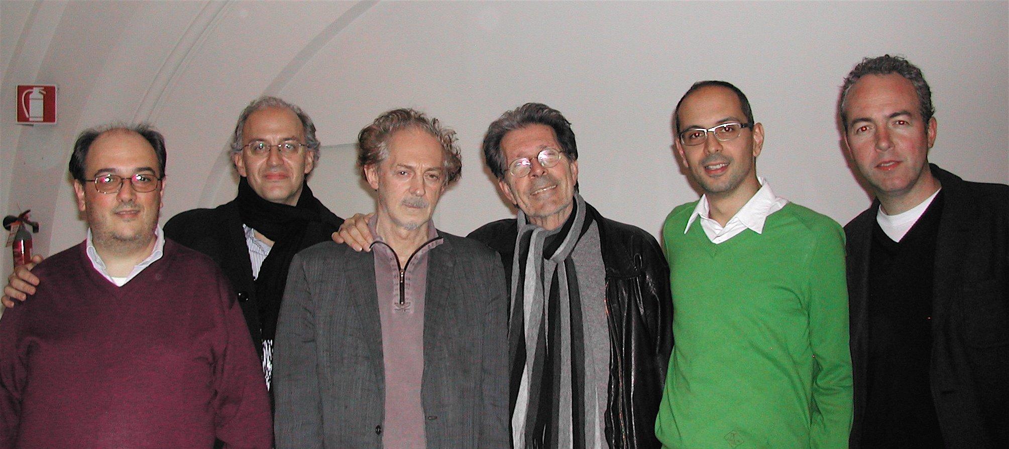 Da sinistra: Enrico De Vivo, Massimo Rizzante, Ermanno Cavazzoni, Gianni Celati, Stefano Zangrando, Walter Nardon